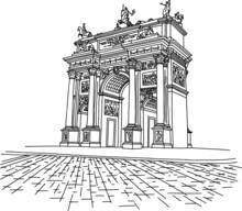 Milan - Arco Della Pace. Parco Sempione. Hand Drawn Line Art Sketch Style Architecture Drawing . Minimalist Simple City Monument Illustration. Piazza Sempione.
