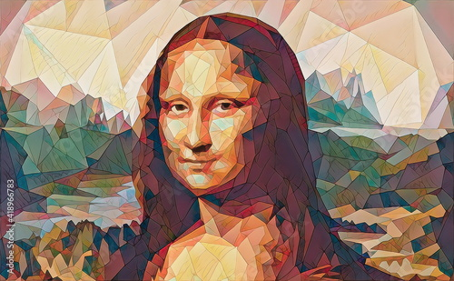 Fotografie, Tablou My painting reproduction of Mona Lisa by Leonardo da Vinci.