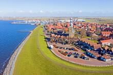 Aerial From The Historical Town Hindeloopen At The IJsselmeer In The Netherlands