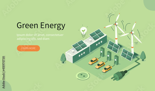 Fotomural Modern Eco Industry with Windmills, Solar Energy Panels and Electric Car near Charging Station
