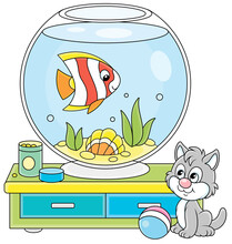 Cute Grey Kitten Watching A Funny Striped Butterfly Fish Swimming In A Home Round Home Aquarium With A Sea Shell And Seaweeds, Vector Cartoon Illustration Isolated On A White Background