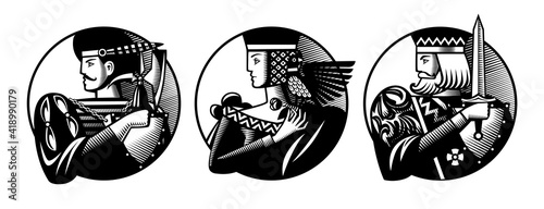 Foto Round shapes with faces of playing cards characters in vintage engraving style