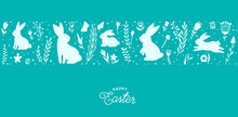 Easter Seamless Border Vector Illustration. Holiday Pattern With Bunnies, Flowers, Plants Silhouettes Isolated On Blue Background. Simple Flat Style