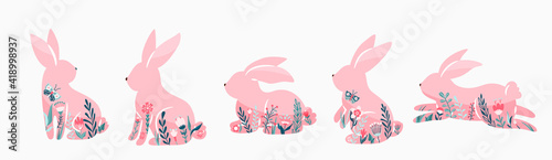 Fotografija Easter bunnies set vector illustration