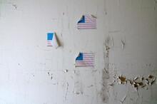 American Flags Inside An Abandoned Mental Asylum
