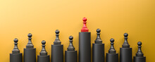 Leadership And Growth Concept, Red Pawn Of Chess, Standing Out From The Crowd Of Black Pawns, On Yellow Background With Empty Copy Space. 3D Rendering
