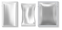 Wet Wipe Package. Sample Pouch, Silver Sachet Mockup. Disposable Packet For Napkin, Isolated Object. Foil Sachet Beauty Sheet Vector Blank. Individual Plastic Packaging, Empty Blank