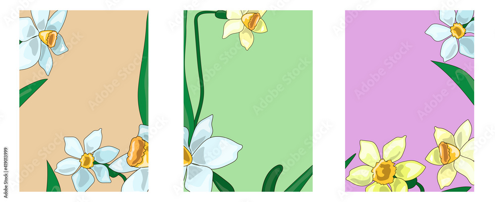 Fototapeta Elegant card illustration graphic set banner. Spring flowers. A bouquet of delicate blue and yellow daffodils in a cartoon style. Stock vector illustration.