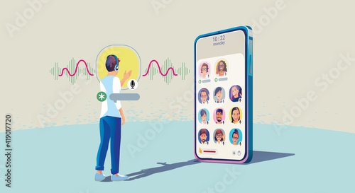 Fototapeta One man use headphones listens to a smartphone, screen show status of people using social networking applications, Club, house Drop in Audio, learning or meeting online, Vector illustration, Flat obraz