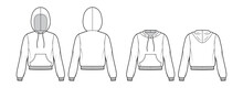 Set Of Hoody Sweatshirt Technical Fashion Illustration With Long Sleeves, Relax Body, Kangaroo Pouch, Banded Hem. Flat Apparel Template Front, Back, White Color Style. Women, Men, Unisex CAD Mockup
