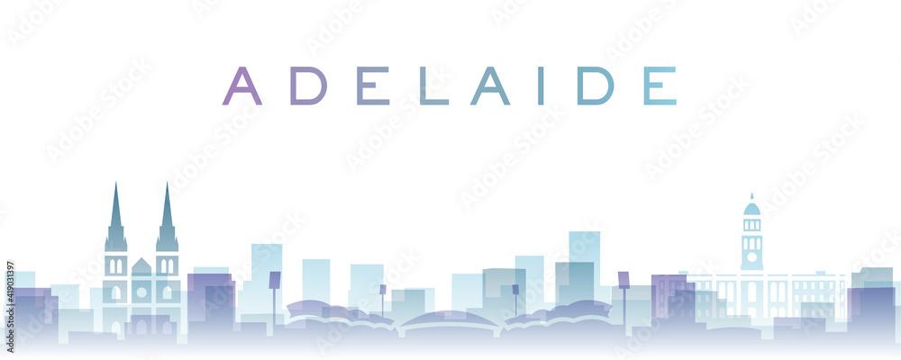 Fototapeta Adelaide Transparent Layers Gradient Landmarks Skyline