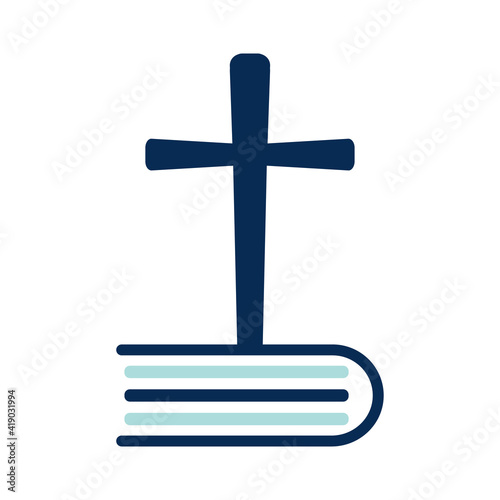 Canvas Print Bible Cross Logo concept design. Christine Church cross logo.