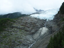 Icy Water Flows From Bossons Glacier, Near Chamonix, France