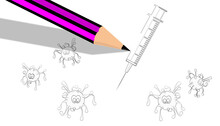 Fantasy. Illustration, A Pencil And White Paper. Painting A Simulated COVID-19 Drawing And A Syringe, As A Concept Of Vaccine, A Tool To Fight And Defend Against The Coronavirus Pandemic. Art Concept.