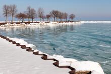 Aqua Ice From Lake Michigan Fills The Harbor Of Milwaukee, Wisconsin