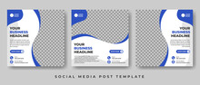 Set Of Editable Square Banner Template Design Vector With Photo Collage, Suitable For Social Media Post And Online Advertising.