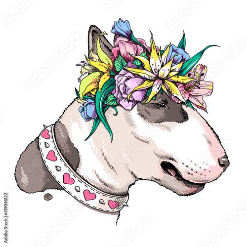 Cute bull terrier dog in floral wreath Fototapet