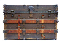 Steamer Trunk. An Antique Steamer Trunk. Isolated On White. Room For Text.