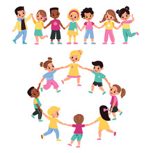 Kids Holding Hands. Happy Multicultural Cute Preschool Children Lead Round Dance Together, Girls And Boys Form Chain And Ring, Little Friends Clasped Hands. Vector Cartoon Flat Set