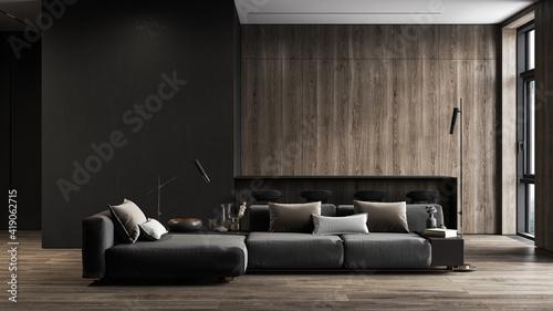 Obraz Modern, black minimalist interior with kitchen, sofa, wood floor, wall panels and marble kitchen island. 3d render illustration mock up. - fototapety do salonu
