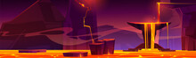 Hell Landscape, Infernal Hot Volcano Cave With Lava Flow From Cracked Stones, Rocks Floating In Liquid Magma, Computer Game Background, Underground Panoramic Wallpaper, Cartoon Vector Illustration
