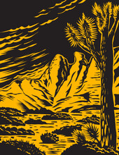 Woodcut Style Poster Art Of The Joshua Tree In The Remote And Rugged Desert Landscape Of Gold Butte National Monument Located In Clark County In Southeastern Nevada Done In WPA Style.