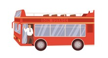 Exterior Of Red Double-decker Tour Bus With Driver. Open Roof City Transport With Two Decks For Sightseeing. Colored Flat Vector Illustration Of Busman And Urban Vehicle Isolated On White Background
