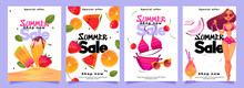 Summer Sale Banners With Woman In Bikini, Cocktail, Ice Cream And Fresh Fruits. Social Media Post Template For Promotion And Advertising. Vector Set Of Posters With Cartoon Girl In Swimsuit