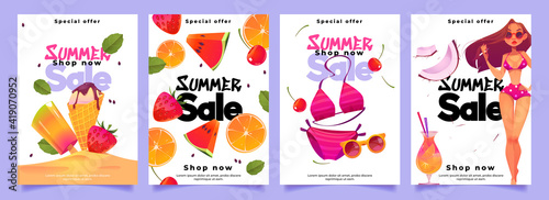 Obraz Summer sale banners with woman in bikini, cocktail, ice cream and fresh fruits. Social media post template for promotion and advertising. Vector set of posters with cartoon girl in swimsuit - fototapety do salonu