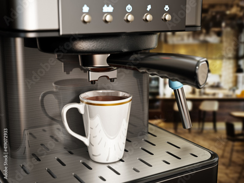 Leinwand Poster Coffee machine with a cup of fresh coffee. 3D illustration