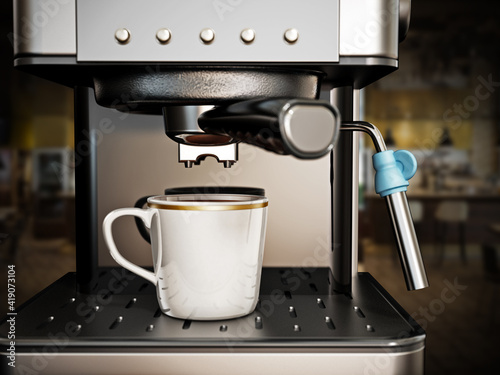 Coffee machine with a cup of fresh coffee. 3D illustration Fototapete