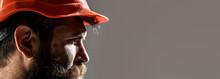 Man Builders, Industry. Builder In Hard Hat, Foreman Or Repairman In The Helmet. Bearded Man Worker With Beard In Building Helmet Or Hard Hat. Portrait Builder, Engineer Working