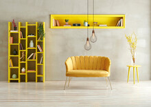 Grey Concrete Wall Background, Yellow Living Room Sofa Niche And Bookshelf With Lamp Concept.