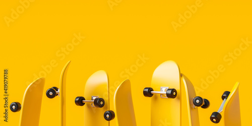 Fototapeta Yellow skateboard or skating surf board on vibrant color background with extreme lifestyle. 3D rendering. obraz