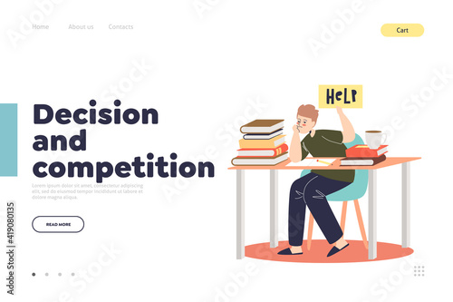Photographie Decision and competition in school concept of landing page with stressed schoolb