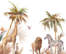Safari Wildlife Wallpaper. Illustration With Zebra, Lion And Giraffe. Watercolor Animal And Jungle Flora On White Background.