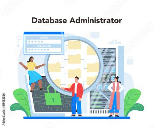 Database administrator concept. Admin or manager working Fotobehang