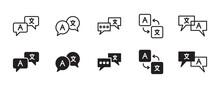 Language Translation Icon Set. Vector Graphic Illustration. Suitable For Website Design, Logo, App, Template, And Ui.
