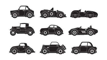 Retro cars silhouettes. Historical vintage urban transport garish vector vehicles black stylized symbols collection. Silhouette automobile, old car historic illustration