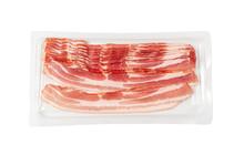Raw Smoked Bacon Isolated, Streaky Brisket Slices