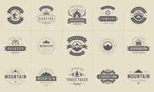 Camping Logos And Badges Templates Vector Design Elements