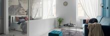 Glazed Bedroom Next To Living Room, Panorama
