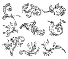 Baroque Scroll As Element Of Ornament And Graphic Design With Spirals And Rolling Circle Motif Vector Set