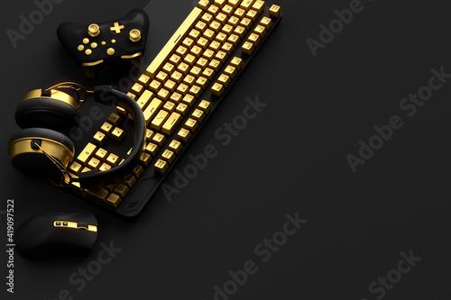 Obraz Top view of gamer workspace and gear like mouse, keyboard, joystick - fototapety do salonu