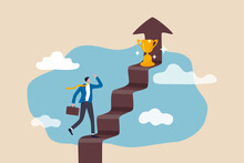 Business Success, Goal And Achievement Concept, Businessman Walking Up Staircase With Rising Arrow Into High Sky To Find Winning Trophy At The Final Top Section.