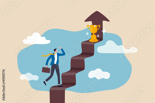 Papel de parede Business success, goal and achievement concept, businessman walking up staircase with rising arrow into high sky to find winning trophy at the final top section