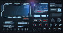 Digital Frame Technology UI/UX Futuristic HUD, FUI, Virtual Interface. A Design Template For A Set Of Frames , Buttons, And Overlay Cursors For Game Streaming.  Futuristic Info Boxes Layout Templates.