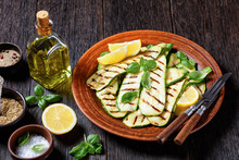 Grilled Zucchini Slices On A Clay Plate