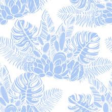 Tropical Summer. Vector Illustration, Tropical Leaves, Cacti,Handmade, Light Background, Seamless Pattern