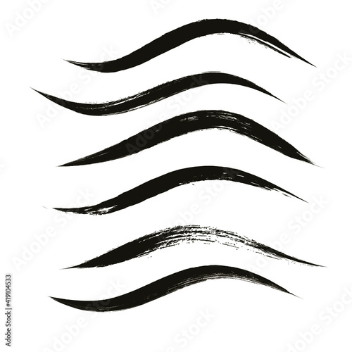 Makeup strokes, Set of mascara smudge, makeup eye pencil swatches, Beauty and cosmetic black brush smudges vector background Fototapeta